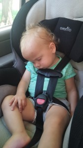 She got too tired on the way home from the beach. Luckily, she went right back to sleep when I put her in her crib.