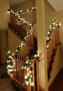 garland on the stairway railings