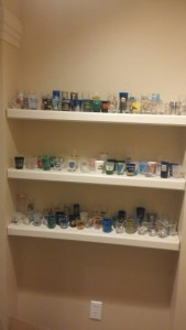 Shelves with the shot glass collection