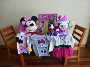 all her Minnie loot and the table & chairs from Grandma & Grandpa Tracy!