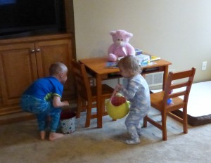 Adam and Allison on the egg hunt!