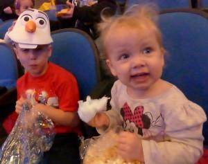 Intermission. Allison enjoying popcorn AND cotton candy. Adam sportin the Olaf hat