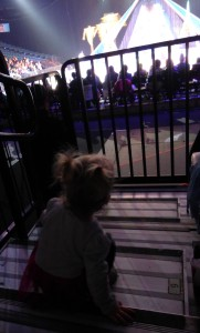 Allison parked on the steps for the last bit of the show. I know it's gross, but I figured it was less annoying than a meltdown that would ensue if I tried to make her stay in the seats...