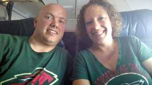 Enjoying First Class flight and rooting for the Wild!