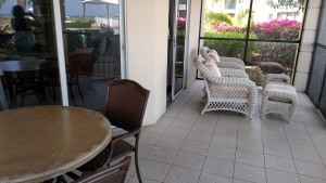 Some of the seating on the patio