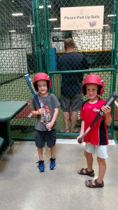 Adam and Brady at the batting cages