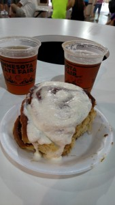 Our brunch: mini donut beer and a cinnamon roll!