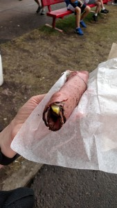 Pickle dog. Pickle spear with cream cheese and pastrami wrapped around it. Way good!
