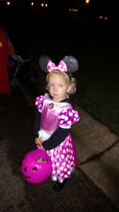 Minnie Mouse had a blast trick or treating!