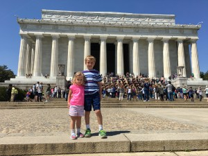 In front of Lincoln Memorial