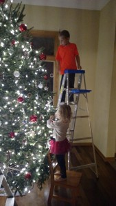 The kids had fun decorating the tree