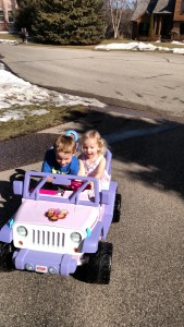 We gave Allison a Jeep! Luckily it was a beautiful 60+ degree day the day of her party so she was able to try it out!