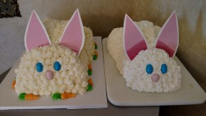 Bunny cakes!!! Carrot with cream cheese frosting on the left and white on the right