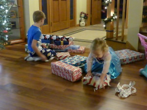 Opening gifts Christmas morning