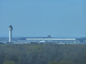view of Dulles airport from the observation tower.
