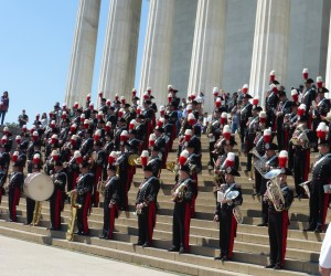 There was a band playing on the steps of Lincoln Memorial